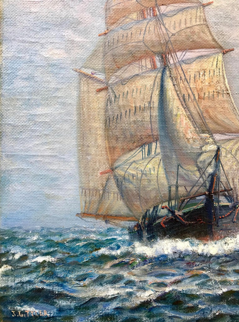 Here for your consideration is a wonderfully executed marine painting by the American artist, James Gale Tyler.  In very good original condition. Signed lower left. The painting depicts a tall ship under full sail.  Housed in its original art