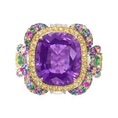 James Ganh Sensational 7.6cts Amethyst Sapphire Diamond Ring in 18K Gold