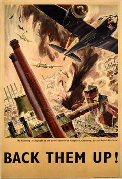 Original Vintage WWII Poster Back Them Up RAF Royal Air Force Aircraft Bomb Raid