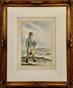 """19th Century Hand-colored Etching """"A Great Man on The Turf"""" by James Gillray"""