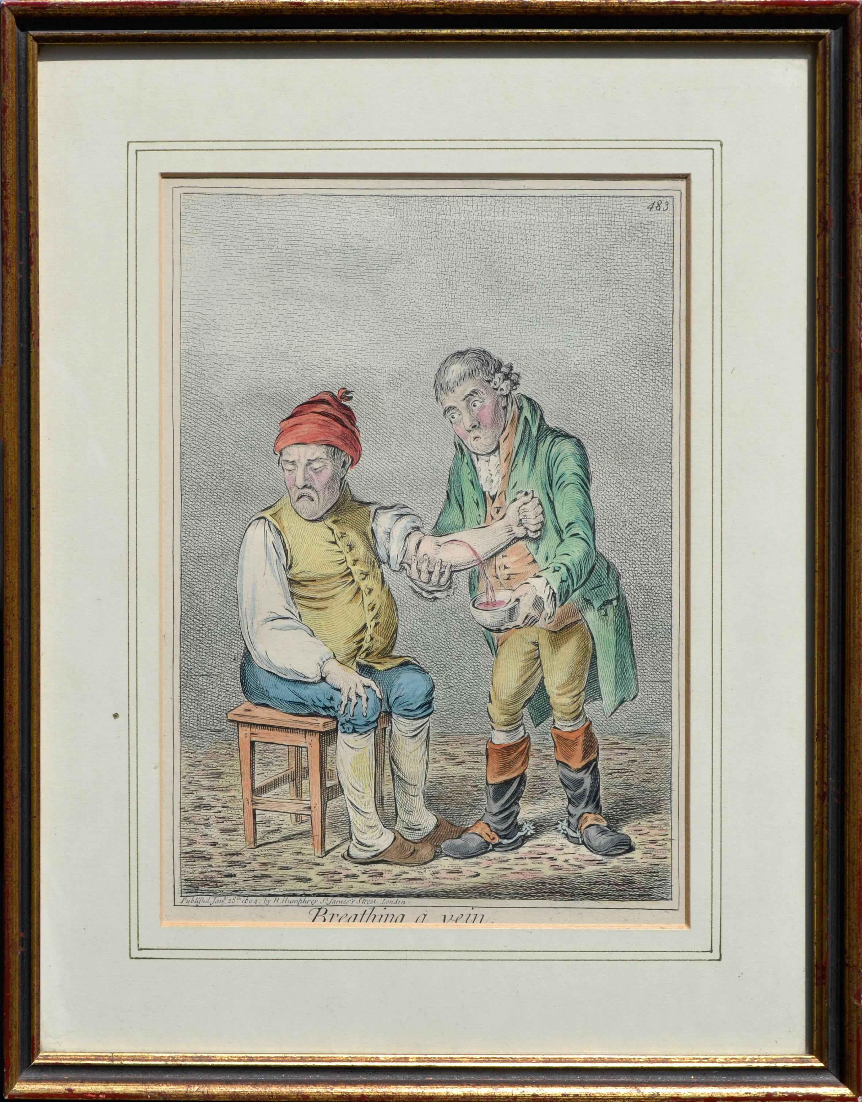 """""""Breathing A Vein"""" - Early 19th Century Figurative Caricature Illustration"""