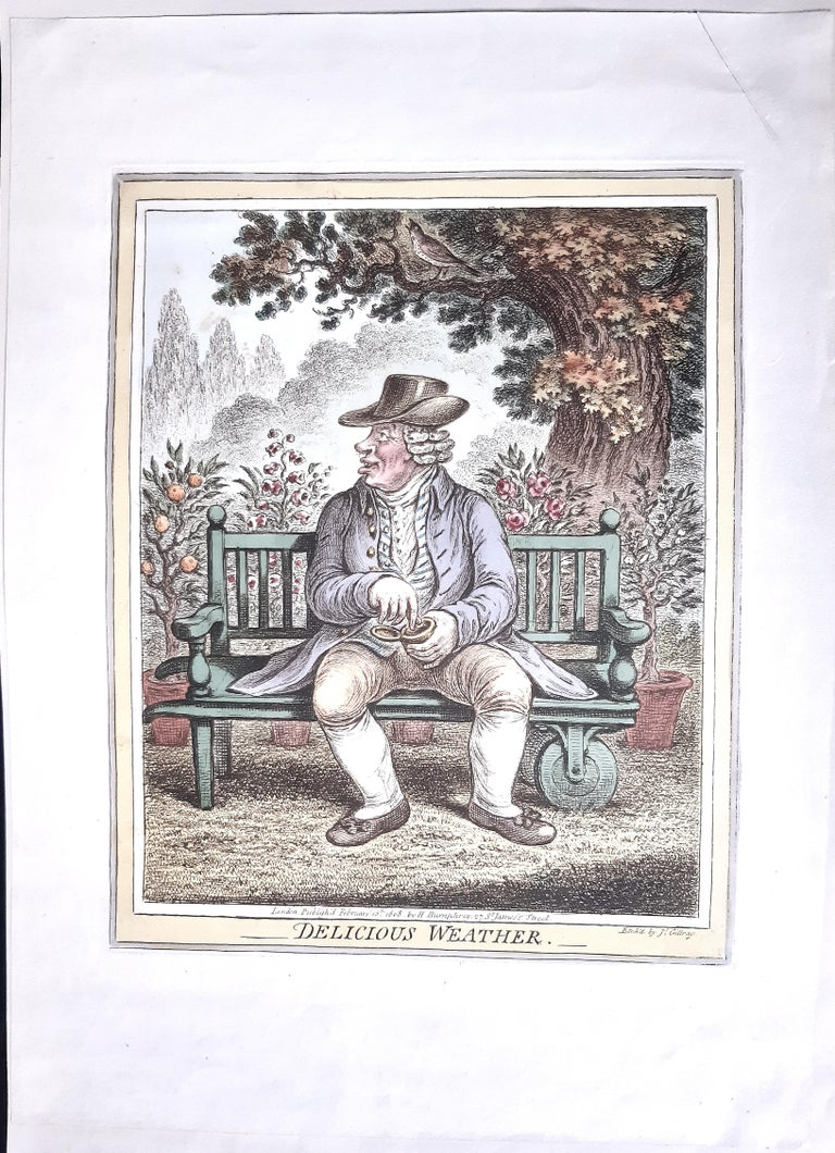 Delicious Weather - Complete Series of 5 Hand-colored Etchings - 1808 - Gray Figurative Print by James Gillray