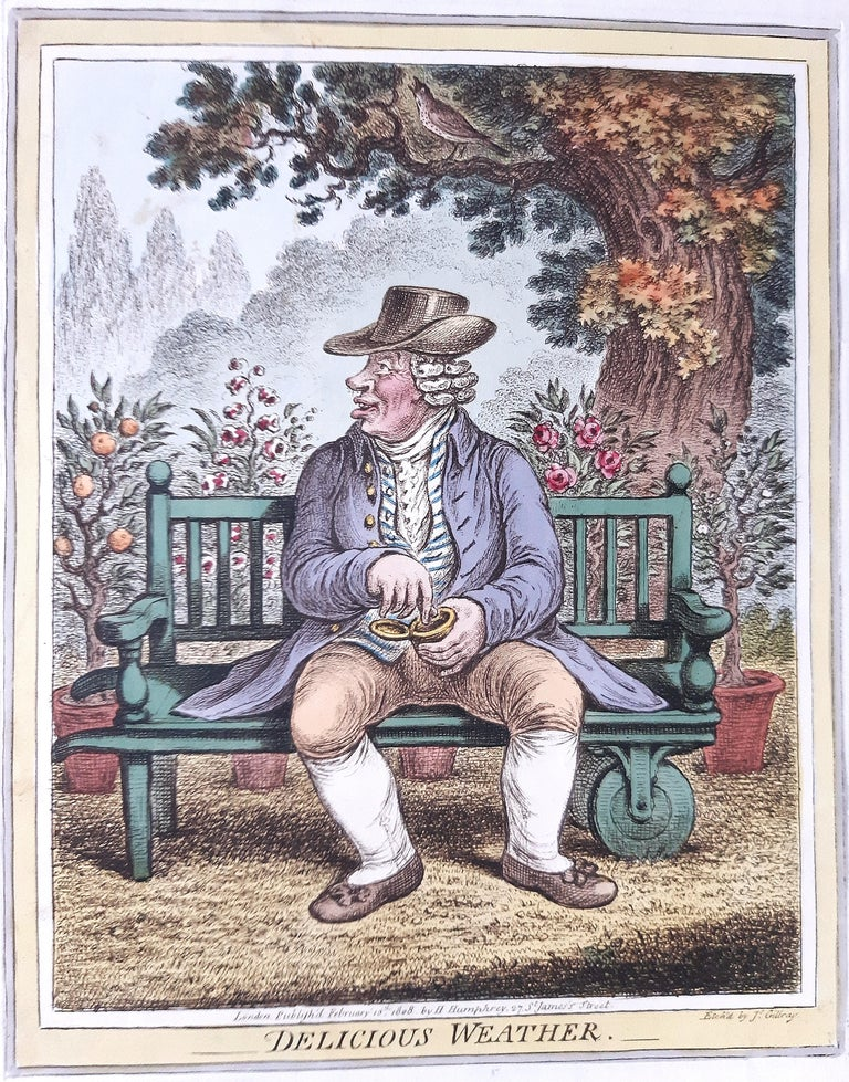 Delicious Weather is an original series of 5 hand-coloured etchings realized by James Gillray in 1808, these etching title are: Delicious weather, Sad sloppy weather,  Dreadful hot weather, Windy weather,  Raw weather,  edition  H. Humphrey,