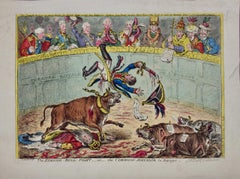 """Hand-colored Etching """"The Spanish Bull-fight"""" Napoleon Satire by James Gillray"""