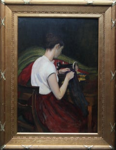 Portrait of a Seamstress -Scottish 1900 Glasgow Boy female portrait oil painting