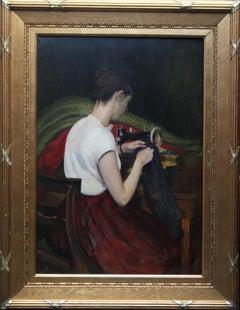Portrait of a Seamstress -Scottish 1900 Glasgow Boy female portrait oil painting