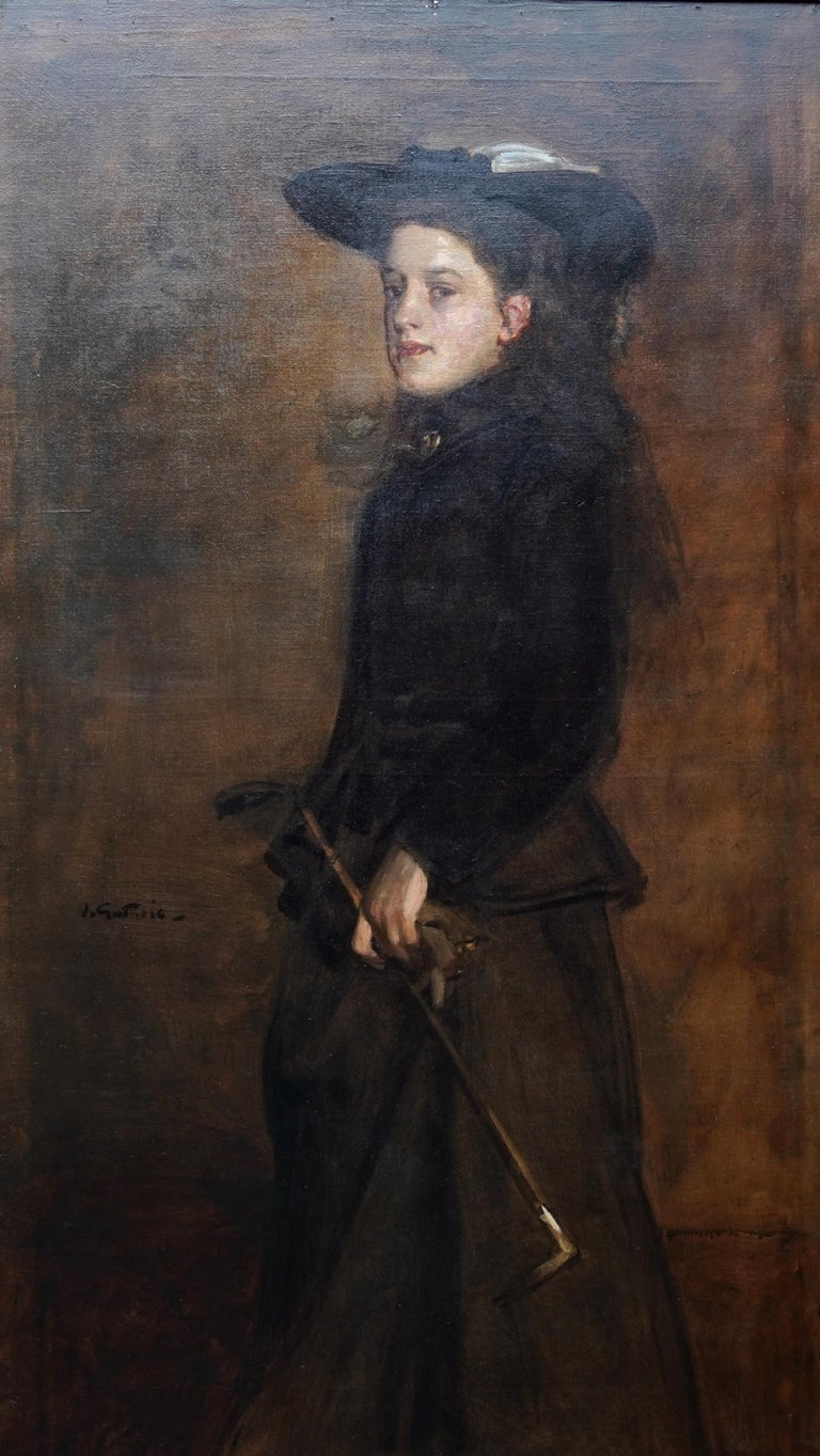 Portrait of Mary Martin in Riding Habit -Scottish 19thC Glasgow Boy oil painting - Painting by James Guthrie