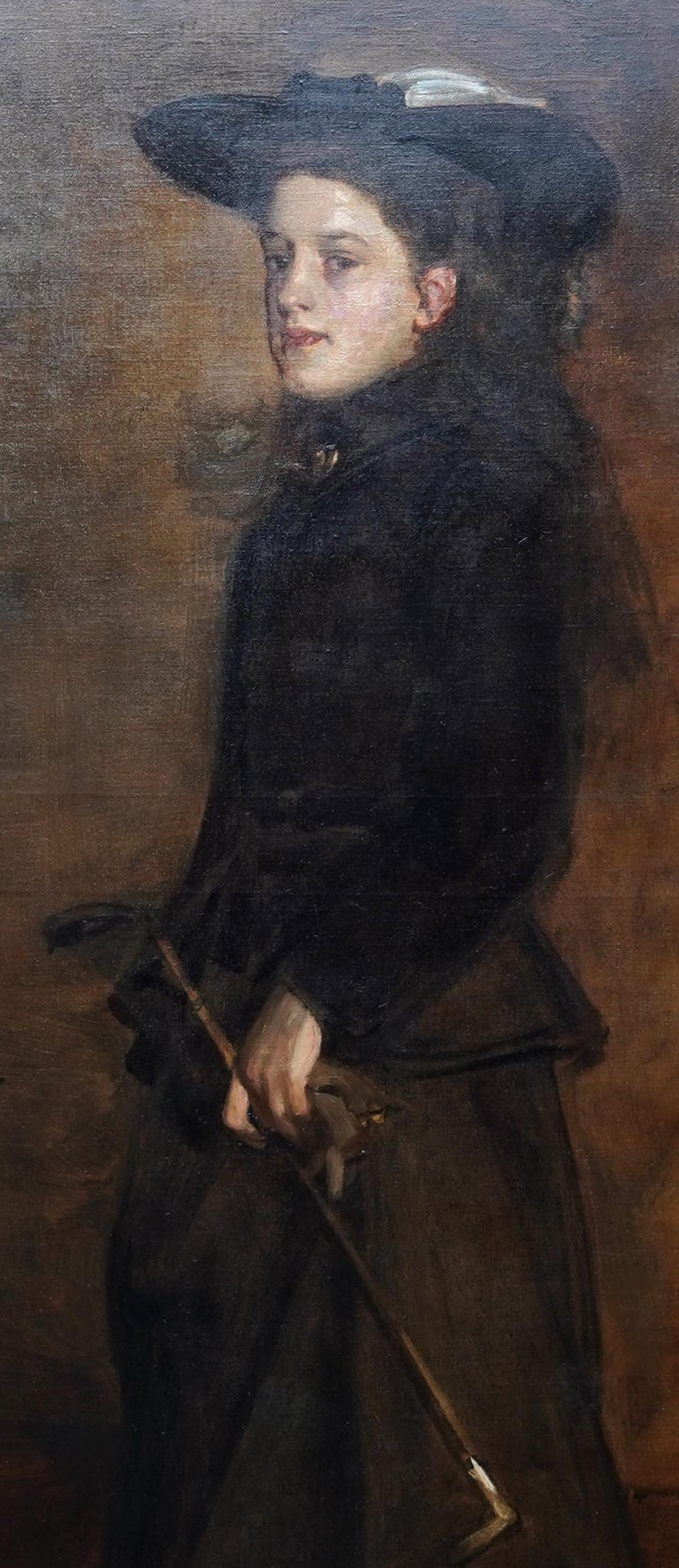 Portrait of Mary Martin in Riding Habit -Scottish 19thC Glasgow Boy oil painting - Victorian Painting by James Guthrie