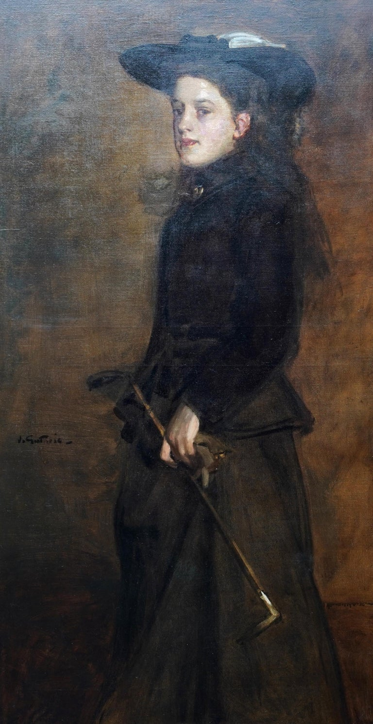Portrait of Mary Martin in Riding Habit -Scottish 19thC Glasgow Boy oil painting - Black Portrait Painting by James Guthrie