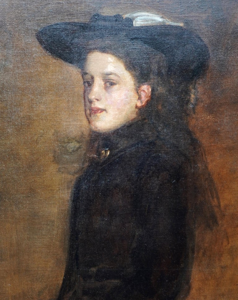 This beautiful Victorian Scottish portrait oil painting is by noted Glasgow Boy artist Sir James Guthrie PRSA. The young female sitter, Miss Mary Martin, was painted in 1900 as part of a series of paintings of the Edward Martin family, painted in