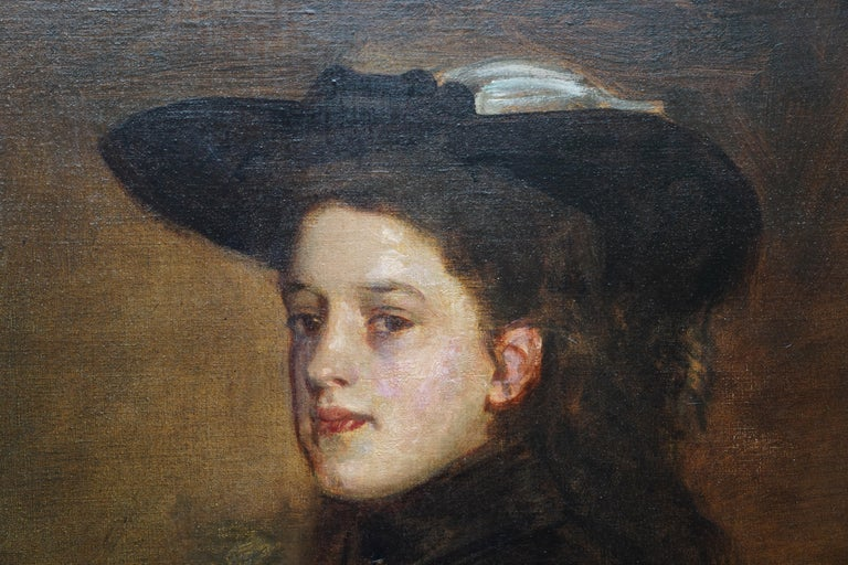 Portrait of Mary Martin in Riding Habit -Scottish 19thC Glasgow Boy oil painting For Sale 1