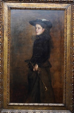 Portrait of Mary Martin in Riding Habit -Scottish 19thC Glasgow Boy oil painting