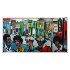 James H MALONE People in the Street City Acrylic Painting