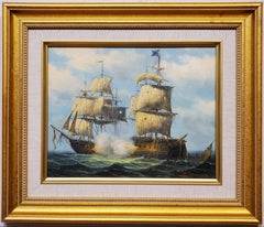 James Hardy Oil Painting of Maritime Battle at Sea 20th C in earlier Style