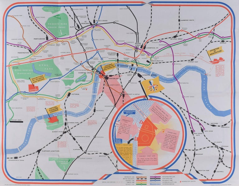 James Hart Festival of Britain 1951 London Transport map poster UK Mid Century - Print by James Hart