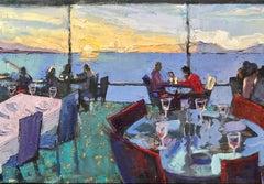 Dinner on the Bay, Berkeley, Oil Painting