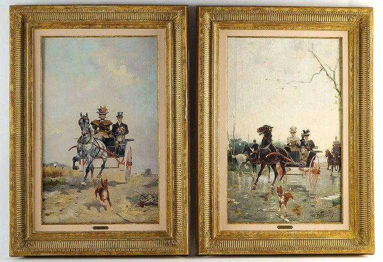 James Harvey pair of oil on canvas walks in carriages, circa 1850.  Elegant and decorative pair of oil on canvas depicting The Walks on Carriages in England in the mid-19th century.  English school painting sign by James Harvey on a lower