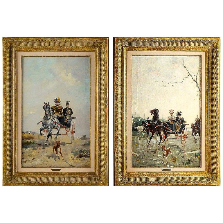 James Harvey Pair of Oil on Canvas Walks in Carriages, circa 1850