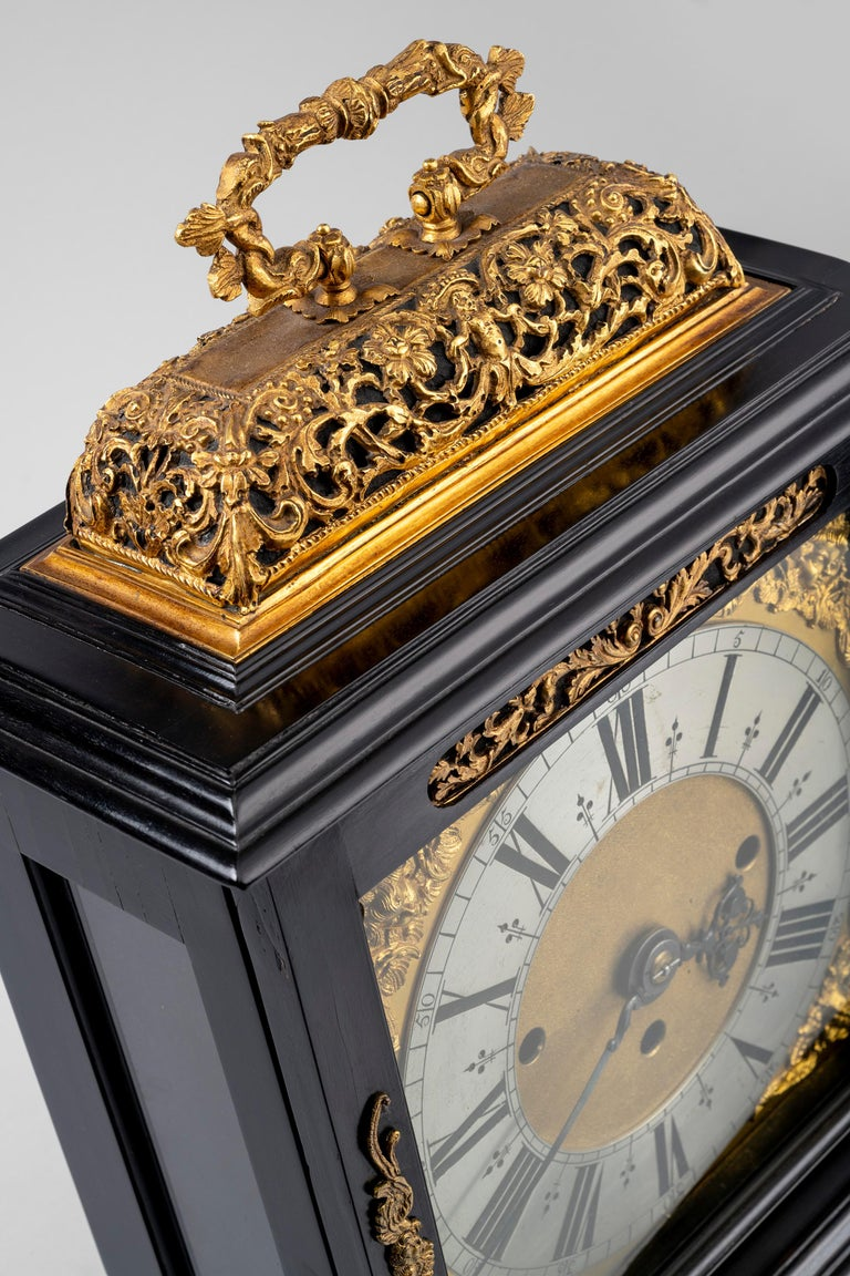 17th Century Antique Ebony and Gilt Table Clock by Edward Burgis of London