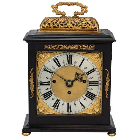 James II ebony and gilt table clock by Edward Burgis, London