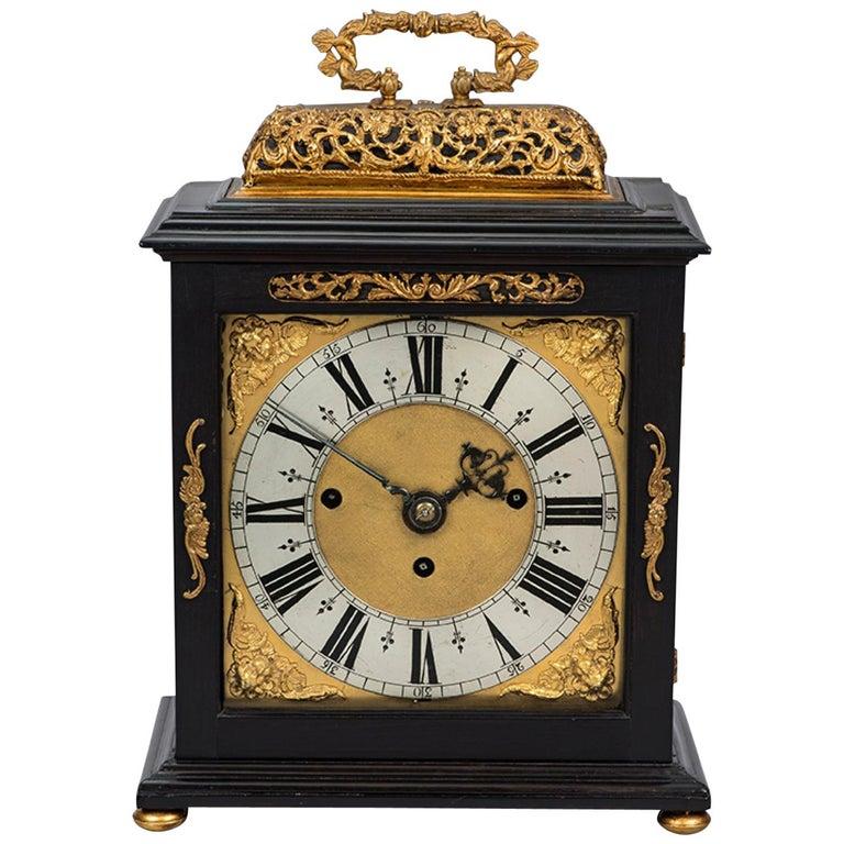 James II ebony and gilt table clock by Edward Burgis, London