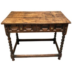 James II English Oak Side Table with Drawer
