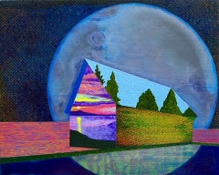 Apparition, surreal painting of house against purple moon, reflections