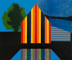 Ascension, acrylic on panel, 15 x 18 inches. Colorful architectural composition
