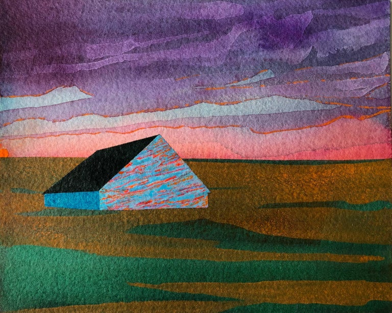 Beacon, acrylic on paper, 6 x 7.5 inches. Vivid landscape painting - Painting by James Isherwood