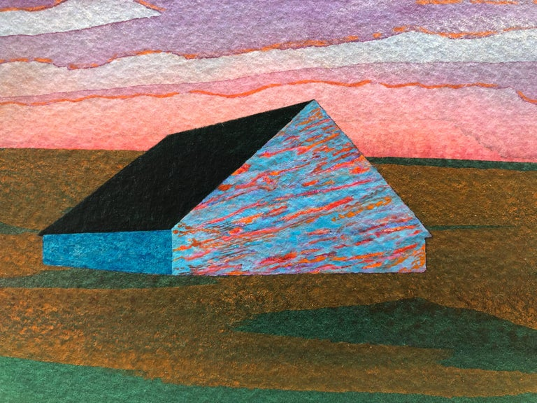 Beacon, acrylic on paper, 6 x 7.5 inches. Vivid landscape painting - Contemporary Painting by James Isherwood
