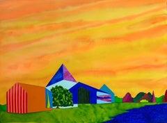 Coastal Stations, houses against orange yellow sky, surreal landscape