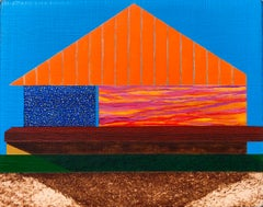 Days of Future Past, small architectural painting on panel, blue and orange