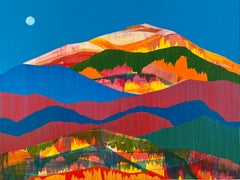 Eastern Promise, bright multicolored painting on panel, mountain landscape