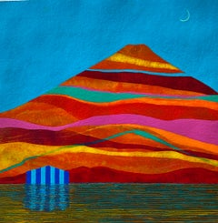 Echo, small house against multicolored mountain landscape, work on paper