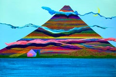 Empyrean, bright surrealistic painting of house against mountain, neon colors
