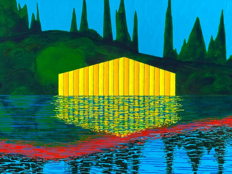 Equinox, bright acrylic painting on panel, house on the lake, mountain range - Painting by James Isherwood