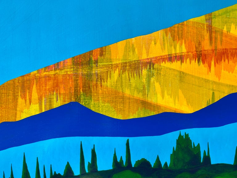 Equinox, bright acrylic painting on panel, house on the lake, mountain range - Contemporary Painting by James Isherwood
