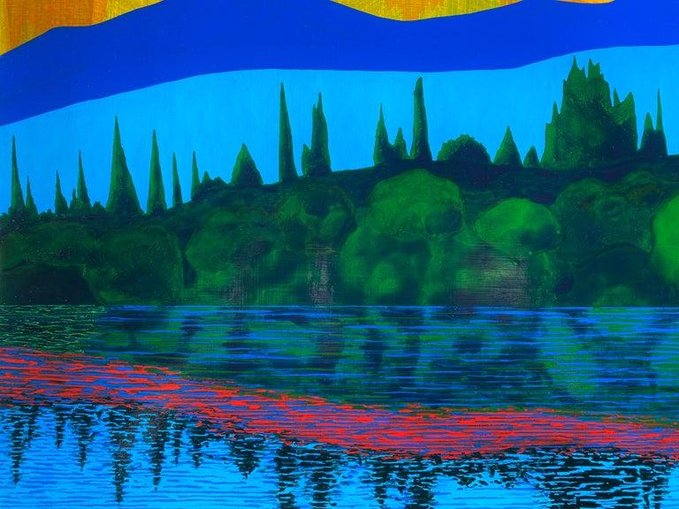 Equinox, bright acrylic painting on panel, house on the lake, mountain range - Blue Figurative Painting by James Isherwood