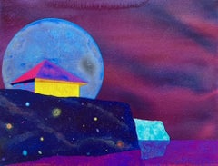 Evening Perspective, small house against purple sky and moon, surreal landscape