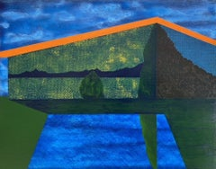 Gardener, surreal painting on panel of architecture, blue, green and orange
