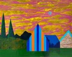 Gathering Sky, blue and orange house against sunset, painting on panel