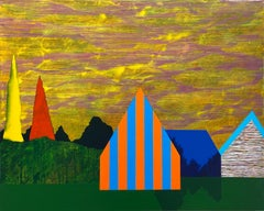 Gathering Sky, blue and orange house against yellow sky, painting on panel