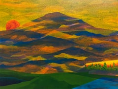 Golden Hour, acrylic on paper, colorful mountain range, sunset