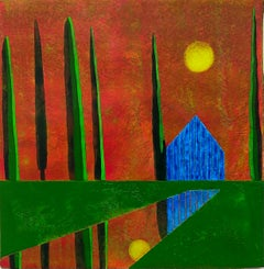 Interlude, small house against orange sunset, work on paper