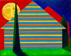 Interstice, small striped house against blue and red skies, painting on panel