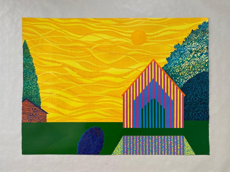 Lemon Sky, acrylic on paper painting of architecture, yellow and green - Painting by James Isherwood