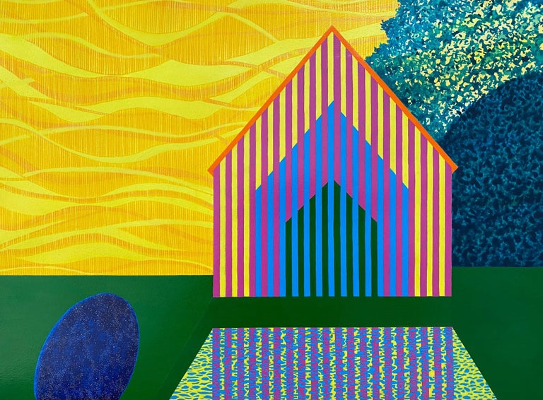 Lemon Sky, acrylic on paper painting of architecture, yellow and green - Contemporary Painting by James Isherwood