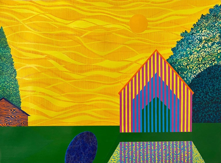 James Isherwood Landscape Painting - Lemon Sky, acrylic on paper painting of architecture, yellow and green