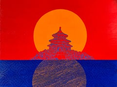 Meridian, vibrant red and blue temple on panel