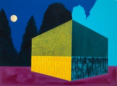 Night Scene, blue, yellow and purple building, painting on panel